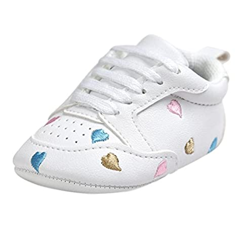 Saingace 1 Pair Baby Embroidery Love Heart Lace-up Soft Sole Shoes Toddler Sneakers First Walking Shoes For Boys Girls (Age:12~18 Month, Multicolor)