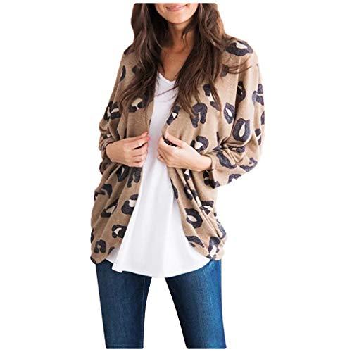 Smonke Damenmode Leopardenmuster Langarm Lose Oberteile Lose Vertuschungen Strickjacke Einfache Freizeitbluse Herbst Winter Shirt