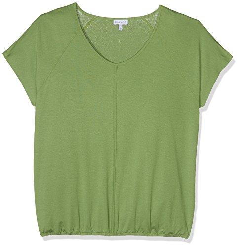 Gina Laura Große Größen Damen T-Shirt Raglanshirt, Paspel, Gummibund Grün (Limette 49), 44 (Herstellergröße: L) (T-shirt Creme-dunkler)