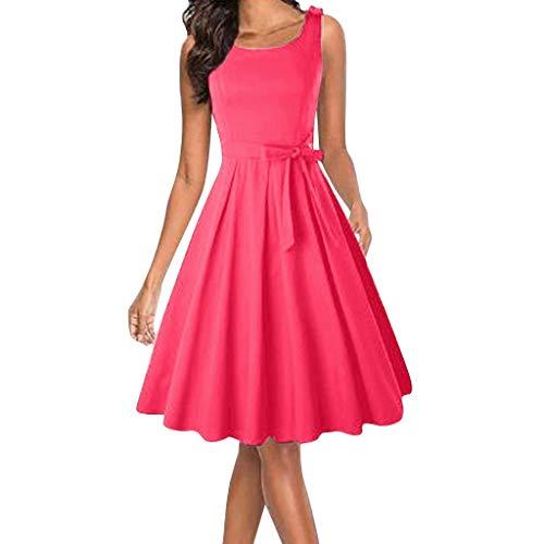 (iYmitz Sommer Damen Abendkleid Retro Festes ärmelloses mit Gürtel Trägerlosen Solide RockParty Kleider Elegant Cocktailkleid(rot,EU-44/CN-3XL))