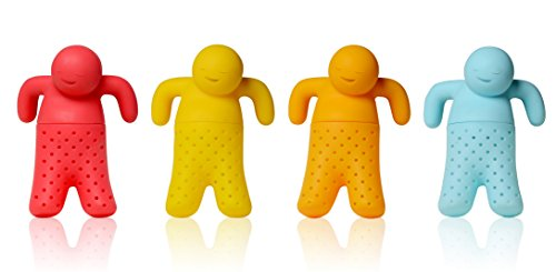 iNeibo Infusores de Té Divertido en Forma de Hombrecito, 4 Coladores de Té de Silicona de Alta Calidad para Té suelto (Rojo / Amarillo / Naranja / Azul Claro)