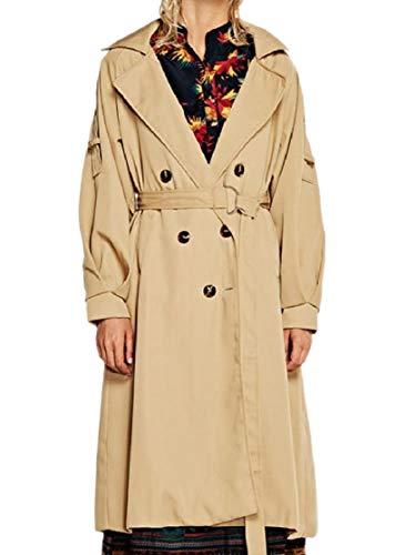 CuteRose Women Double Breasted Belted Tops Outwear Trim-Fit Lapel Overcoat Khaki S Belted Damen Trench Coat