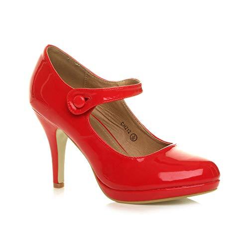 Damen Mittel Hoher Absatz Mary Jane Riemen Abend Elegant Pumps Schuhe Größe 4 37
