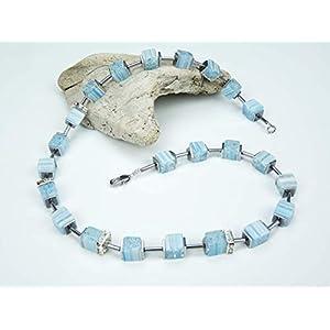 Handgemachte Murano Glas Perlen Würfel Kette und Edelstahl Verschluss, Edelsteinkette, Unikat