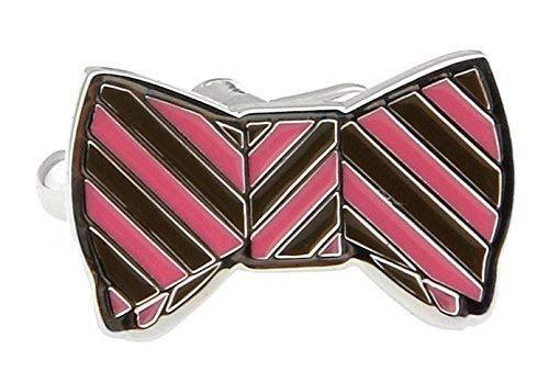 Boutons de manchette nÒud papillon rose et gris avec Alfred & Co. Boutons de manchette Box