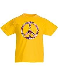 lepni.me Camiseta Niños/Niñas Símbolo DE LA Paz, 60s, 70s,