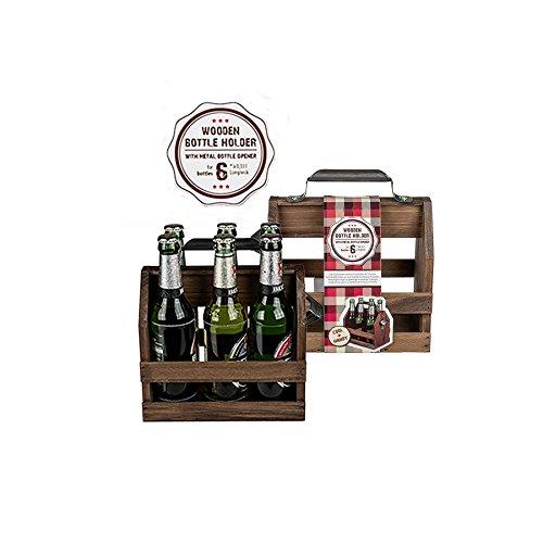 Close Up Holz-Flaschenhalter mit Metall-Flaschenöffner - Sixpack-Tragetasche