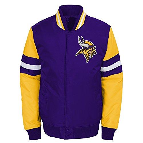 Outerstuff NFL Minnesota Vikings Jungen Youth legendären Farbe Blockiert Varsity Jacke, Jungen, 9K1B7FAJ7 VIK -BXL20, Regal Purple, Youth XL (Varsity Jacken Für Kinder)