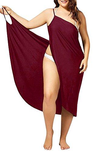 Damen Bikini Cover Up Sommer Tief V Ausschnitt R¨¹ckenfrei Strandkleid Wickelkleid Red 4XL