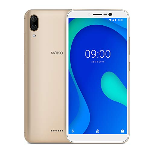 WIKO Y80 + Carcasa - Smartphone 4G de 5,99' (Octa-Core 1,6 GHz, Cámara Dual 13 MP, batería 4000 mAh, 16 GB de ROM, 2 GB de RAM, Android 9, Dual SIM) - Color Dorado