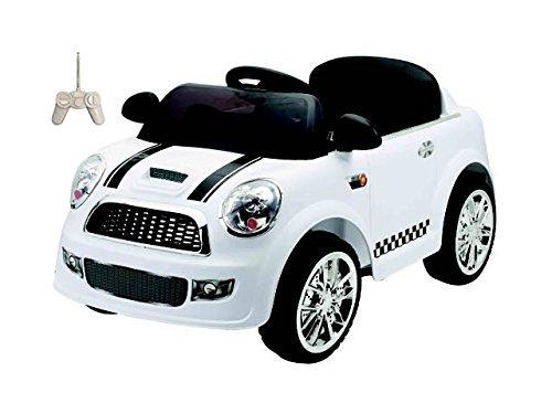 AUTO ELETTRICA PER BAMBINI MINI CAR BIANCA CON TELECOMANDO, 2 MOTORI ING. MP3, E LED