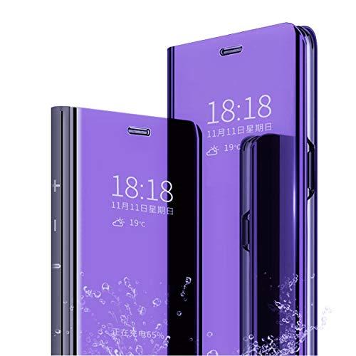 MLOTECH Kompatibel Huawei P30 Lite Hülle ,Handyhülle + Panzerglas schutzfolie Flip Transluzent View Miroir Spiegel Standfunktion Smart Cover -Lila blau