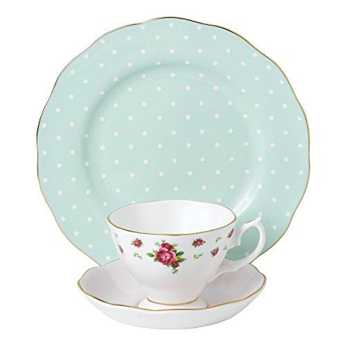 Royal Albert 40034974Modern Vintage Collection Teetasse, Untertasse, Teller, weiß, rosa Alte Rose Fine China