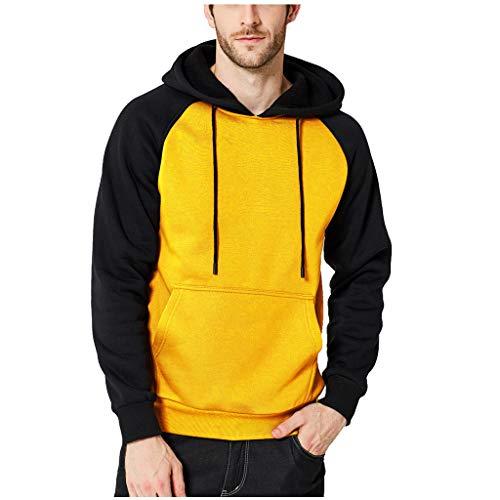 Aoogo Herren beiläufige nähende Paar-Strickjacke Patchwork Langarm Kapuzenpullover Herbst-und Winter Modetrend Sport Sweatshirt -