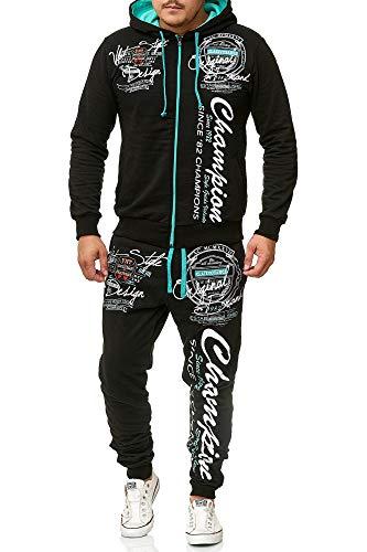 Herren Jogging-Anzug Champion Design, Trainings-Hose-Jacke-Anzug aus 100% Baumwolle, mit Kapuze und Rippstrickbündchen, von S bis XL (L-Slim, Schwarz/Mint) Kapuze Jacke Hose