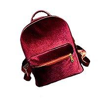 Women Backpack - Kingwo Women Gold Velvet Small Rucksack Backpack School Book Shoulder Bag (Red)