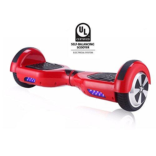 """United Trade Hoverboard Elettrico Monopattino Elettrico Autobilanciato Overboard, Balance Scooter Skateboard con LED, Due Ruote 6.5\"""" Rosso con Certificazione UL 2272, Confezione Regalo"""