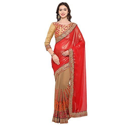 Womanista Synthetic Saree with Blouse Piece (FS9476!_Red & Beige!_One Size)