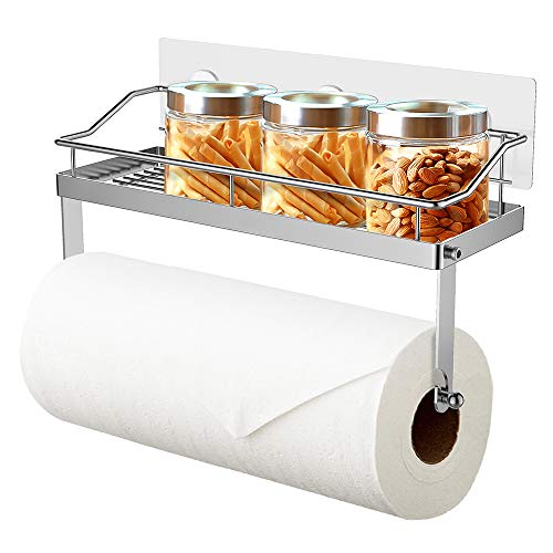 Oriware Küchenrollenhalter mit Regal Küchenrollenspender Wand Küchenpapierhalter Papierrollenhalter Küchen Badezimmer Aufbewahrung Ohne Bohren - Edelstahl Matt -