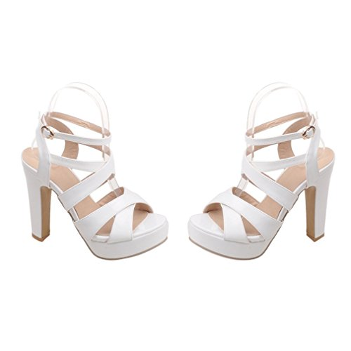 YE Damen Lackleder Peep Toe Riemchen Blockabsatz High Heel Plateau Sandalen mit Schnalle Elegant Pumps Schuhe Weiß