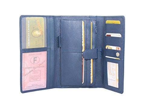 Frédéric&Johns ® - Compagnon femme en cuir de vachette grainé - porte chéquier long - porte papier en cuir haute qualité - grand portefeuille avec rabat (Bleu)