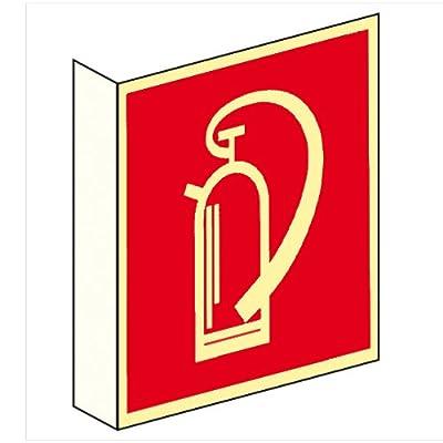 Brandschutzzeichen Brandschutzschild Feuerlöscher Fahnenschild Kunststoff nachleuchtend 200 x 200 mm #692411