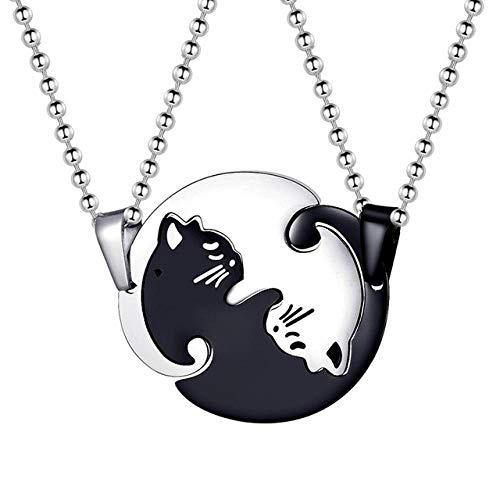 ALJKJ Titan-Edelstahl-Halloween-Paar-Puzzle-Matching Black White Cat Halsketten Liebhaber In Anhänger Halsketten, - White Cat Kostüm Frauen