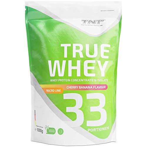 Whey Protein Isolate & Konzentrat Pulver - Eiweißpulver aus Molke - Proteinpulver - Eiweiß-Shake / 1kg - KIBA (Kirsch-Banane)