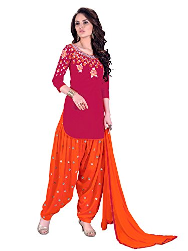 Suit ( Shoponbit Red And Orange Colour Cambric Cotton Embroidered Semi Stitched Patiala Suit )
