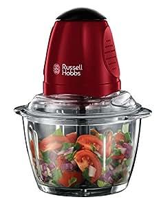 Russell Hobbs 20320-56 Mini-Zerkleinerer Desire, Ein-Hand-Bedientaste, Glasbehälter inkl. Deckel, rot/schwarz