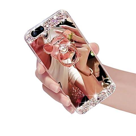 iPhone 6/6s (11,9cm inch) Paillettes Miroir TPU Coque [avec protecteur d'écran gratuit + 1stylet]–Ce Mode Belle Luxe 3d fait à la main Diamant paillettes Bling doux brillant étincelant avec verre miroir plaque arrière Coque pour Apple iPhone 6(2014Release)/iPhone 6S (version 2015)