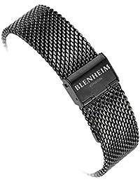 Blenheim Londres® Classic de malla pulsera de reloj de acero inoxidable de 22mm de color negro y bronce