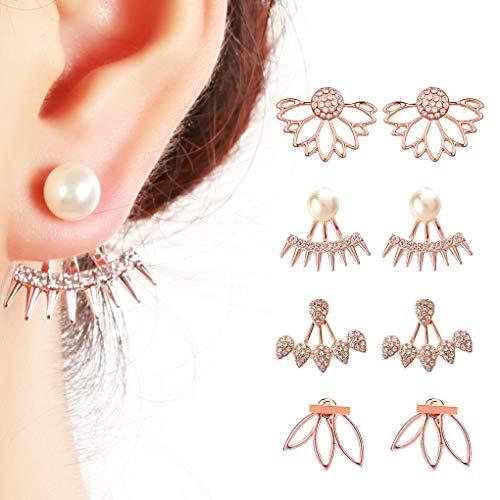 Juland 4 Paare Hohle Lotusblume Ohrringe zurück Manschetten Jacke Ohrringe Kristall einfach Chic-Ohrstecker-Set für Frauen Mädchen - Rose Gold