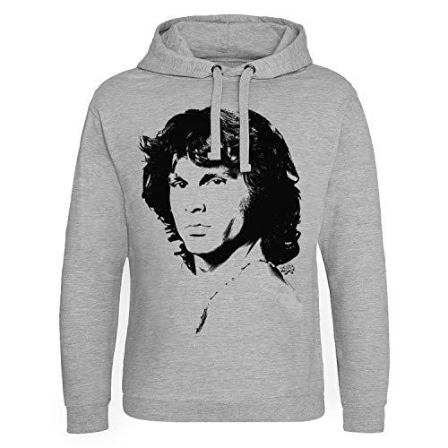 Jim Morrison Offizielles Lizenzprodukt Portrait Epic Kapuzenpullover (Heather-Grau), Large