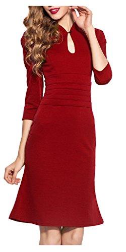 HOMEYEE Damen Rundhals Brautkleider Retro Cocktailkleid Stretch 50er Jahre Kleid 823(38, (Tragen 50er Jahre)