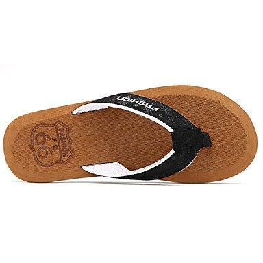 Sandales d'été chaussures d'hommes dehors / Microfibre noir décontracté Tong / Brown Black
