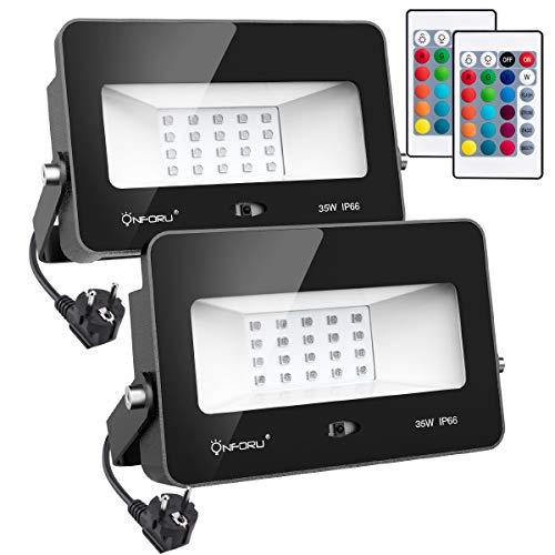 Onforu 2er Pack RGB 35W LED Strahler mit Fernbedienung | IP66 Wasserdicht 16 Farben und 4 Modi LED Fluter mit EU-Stecker | LED Flutlicht Stimmungslichter für Weihnachten, Halloween Party Deko -