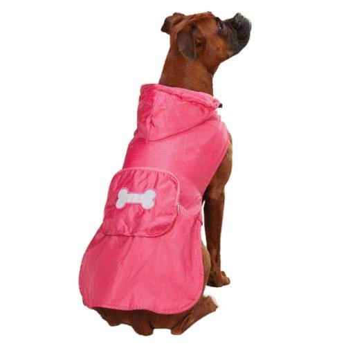Casual Canine Fleece Lined Stowaway Rain Jacket, Medium, Pink by Leynas Pup Palace, LLC