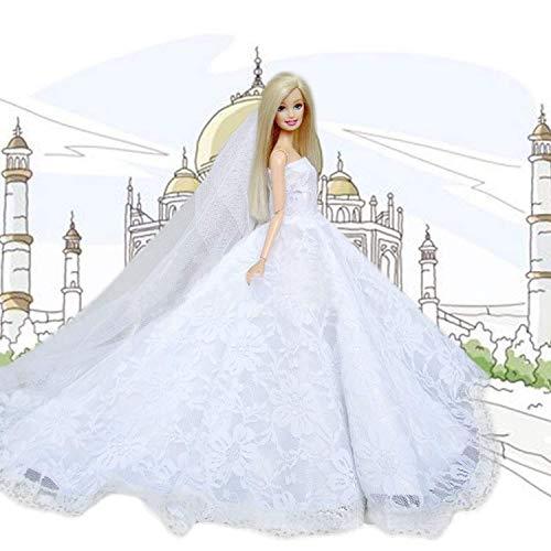 Mm bianco matrimonio vestiti per barbie vestiti gift | 1pezzi principessa abito con velo