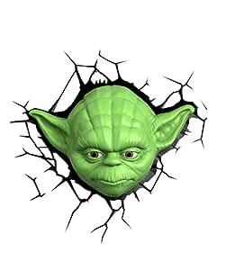 Star Wars Yoda 3D Light FX LED Kinderlampe - Wandlampe Nachtlicht für kinder mit automatische Abschaltung und wandaufkleber