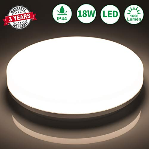 LED Deckenlampe Badezimmer 18W Neutralweiß Airand LED Leuchte IP44 Badezimmer Lampe Wasserfest Deckenleuchte für Flur Bad Küche Wohnzimmer Schlafzimmer Balkon, 4000K,1650LM