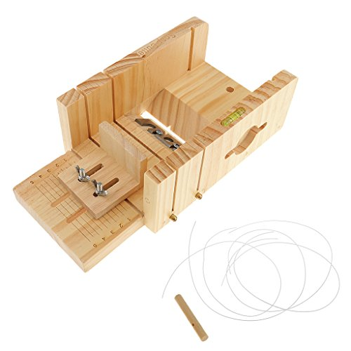 Sharplace Adjustable Pine/Beech Wooden Soap Mold Loaf Cutter Beveler Planer Wire Slicer for Handmade Soap Candles Trimming DIY - Pine Wood, as described