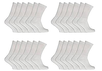 24 Pairs Mens Cotton Plain White Sport Socks Athletic Gym Running Socks Shoe Size UK 6-11 EUR 39-45 Pro Active by AC®
