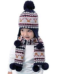 Niños Niñas de punto gorro y bufanda Navidad Motivo 2pzs Conjunto invierno  Bebé Lindo 6 meses 4f123d2de30