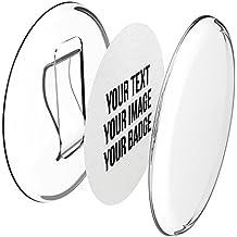 Chapas plásticas con clip (a presión) -Hágalo usted mismo- sin necesidad de máquina (Ø 56 mm, 50 piezas) - Conjunto incluye papel pre cortado A4.