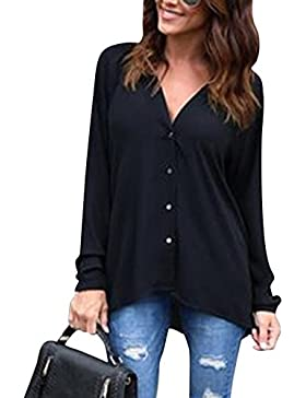 Moollyfox Mujeres Suelta Botón Trim Blusa de Color Sólido Cuello V Túnica Camiseta de Manga Larga