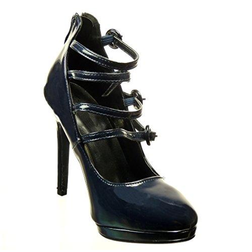 Angkorly - damen Schuhe Pumpe - Stiletto - Offen - String Tanga - Multi-Zaum - große Tasten Stiletto high heel 11 CM Blau