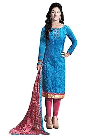 Mrinalika Fashion Women's Crepe Cotton Unstiched Printed Salwar Suit (5DRC63003, Blue, Free Size)