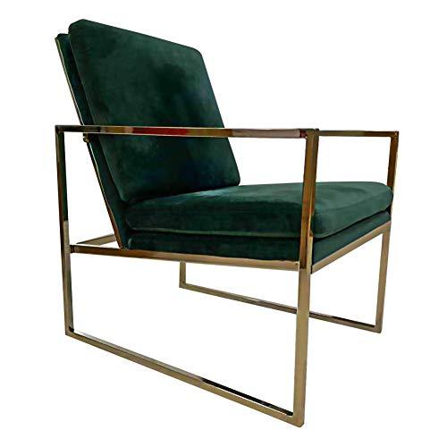 Rraycom Samt Armlehnenstühle mit Gold Finish Stahl Metallrahmen, skandinavisches Design Polsterstuhl mit Samt Sitzkissen, Grün Dunkelgrün Sessel Stuhl -