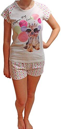 Selena Secrets Ensemble de Pyjama Été Court Femme Fille LN000059 Blanc